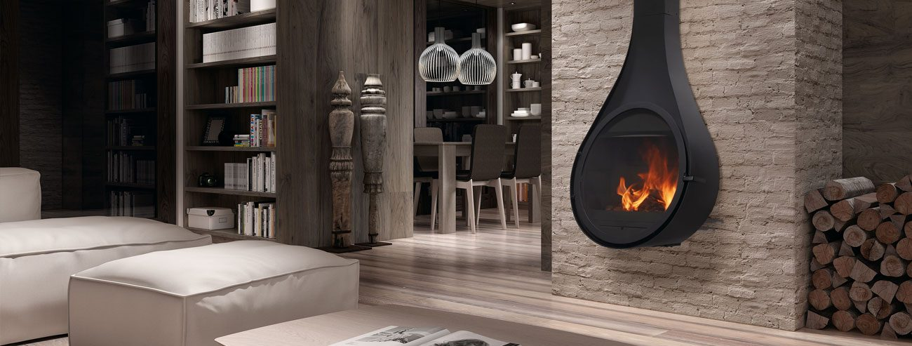 Advanced and trendy designed fireplaces.